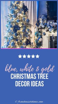 This white, blue and gold Christmas tree decor is so glam! I would love to do my holiday decorations like this. Blue Christmas Decor, Gold Christmas Decorations, Gold Christmas Tree, Beautiful Christmas Trees, Christmas Tree Themes, Xmas, White Ornaments, Holidays And Events, Party