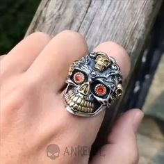 Highest Quality Solid 925 Silver Ring Weight about: 26 g Surface Width: 32 mm Size resizable Mens Skull Rings, Silver Skull Ring, Gold Skull, Skulls, Skull Jewelry, Animal Jewelry, Gothic Jewelry, Wedding Rings Sets Gold, Wedding Jewelry