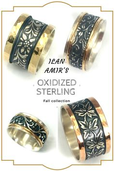 These beautiful leaf-patterned rings can suit any occasion - wedding, birthday, or anniversary. The oxidized sterling silver and gold with flowers and leaf-pattern makes a perfect reminder of a walk in the woods on a gorgeous fall day...  Check out more of our collection on our ETSY shop.
