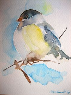 watercolor bird on branch Watercolor Pictures, Watercolor Bird, Watercolor Animals, Watercolor Landscape, Watercolor Illustration, Simple Watercolor, Tattoo Watercolor, Watercolor Background, Landscape Art