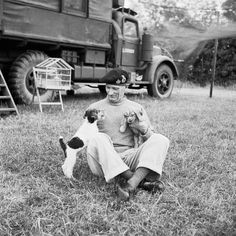 General Montgomery with his puppies at his mobile headquarters in Normandy, 6 July 1944. Behind can be seen his cage of canaries which also travelled with him. Morris (Sgt) © IWM