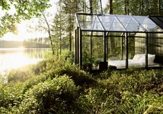 Glass Walled Lake Cabin, Finland-   I would love to sleep there- wow!!!