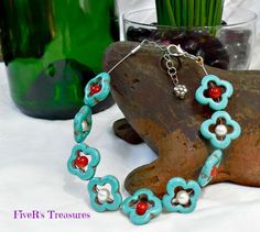 Recycled Guitar String Anklet: Turquoise Flowers - Jewelry creation by FiveR's Treasures Turquoise Flowers, Turquoise Jewelry, Guitar String Jewelry, Tiger Stripes, Anklet, Etsy Seller, Recycling, Jewelry Making, Crafty