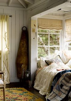 A Rustic bedroom nook. Love how bed is nestled in the windows. Idea if ever build a new house. Bed Nook, Bedroom Nook, Cozy Nook, Home Bedroom, Cosy, Alcove Bed, Cozy Corner, Design Bedroom, Bedroom Decor