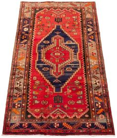 Persian Hamadan x Hand-knotted Wool Red Rug Sexy Toes, Red Rugs, 7 And 7, Persian, Bohemian Rug, Wool, Unique, Decor, Red Carpets