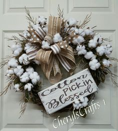 Fall Wreath,Cotton Wreath,Grapevine Wreath,Cotton Pickin Blessed Wreath,Rustic Cotton Door Wreath by CherylsCrafts1 on Etsy