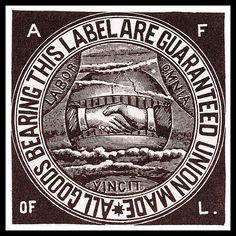 The American Federation of Labor union label, circa 1900.