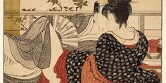 Kitagawa Utamaro; Lovers in the upstairs room of a teahouse, from Utamakura (Poem of the Pillow); c. 1788. Sheet from a colour-woodblock printed album © The Trustees of the British Museum.