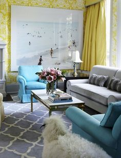 Philip Gorrivan Design: Chic Hollywood Regency living room with yellow wallpaper, The Vase by David Hicks. ...