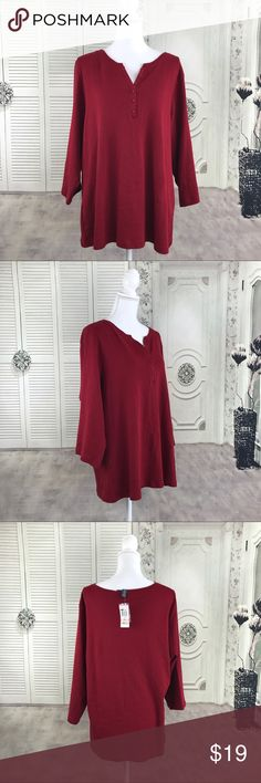 Karen Scott Sz 2X Dark Red Stretch Top V-Neck New with tags  Size 2X top with 3/4 sleeves   Please see pictures for measurements.                                NWT Karen Scott Size 2X Dark Red Stretch Top V-Neck  3/4 Sleeves Karen Scott Tops Blouses