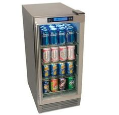 15 Inch Wide 84 Can Built-In Outdoor Beverage Refrigerator with Triple-Pane Glass Door