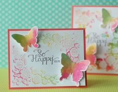 Watercolor heat embossing by Betsy V.