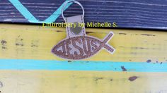 Jesus Fish Key Chain, Jesus, Key Chain, Jesus fish, Fish, Key Fob, Snap Tab, Embroidered Key Chain, Jesus snap tab by EmbroiderybyShellS on Etsy
