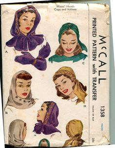 McCall 1358; 1940s Hood/Hat and Mittens.  I would make this today!