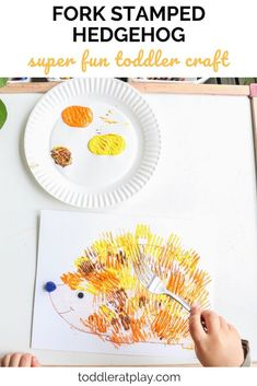 Who's in for a cute hedgehog craft? This Fork Stamped Hedgehog is precious, super easy to prep and loads of fun. After all, kids are using a FORK to make the hedgehog all needle-ish! Fall Crafts For Kids, Toddler Crafts, Easy Fall Crafts, Kids Crafts, Art For Kids, Winter Craft, Creative Activities For Kids, Autumn Activities For Kids, Children Activities