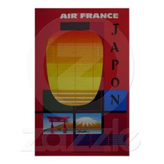 Air France ~ Japan ~ Vintage Japanese Travel Poster from Zazzle.com