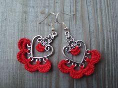 Crochet Lace Earrings, metal base crochet earring