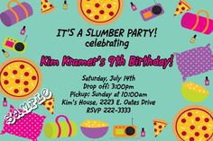 Slumber Party Sleepover Birthday Invitations  -  Get these invitations RIGHT NOW. Design yourself online, download and print IMMEDIATELY! Or choose my printing services. No software download is required. Free to try!