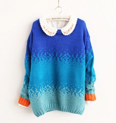 Casual Womens Winter Gradient Knitwear Sweater