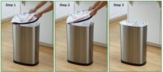 Do you have an attractive trash can and dislike the messy overhang? This step by step direction on how to tuck the trash bag into the can will keep your garbage clean looking! Trash Bag, Rv, Hacks, Cleaning, House, Motorhome, Bin Bag, Home, Home Cleaning