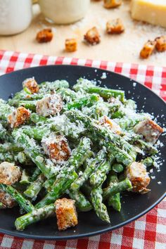 Caesar Grilled Asparagus Salad- Asparagus replaces the lettuce in this smoky and sharp flavored salad. Includes from scratch instructions for a light Caesar dressing and Parmesan croutons.