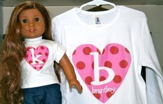 http://www.facebook.com/katnty    Valentine American Girl and Me matching shirts!