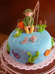 Fishing Theme Cake Fishing Theme Cake Chocolate Boat Gum Paste - Fishing boat birthday cake