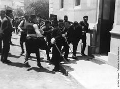 1914: Police in Sarajevo arrest a man after a failed assassination attempt on the life of Archduke Franz Ferdinand, heir to the throne of the Austro-Hungarian Empire