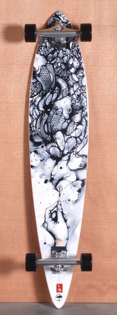 Black and white longboard