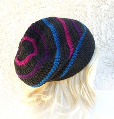 Bisexual Pride colors Slouchy Beanie Crochet Slouch Hat Charcoal gray Magenta pink purple blue Happy Mens Womens Girl Teen Gay pride LGBT on Etsy, $35.00