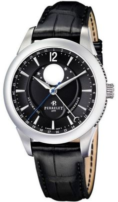 Perrelet Moonphase A1039/7 Stainless Steel & Leather Black Dial Automatic 42mm Mens Watch