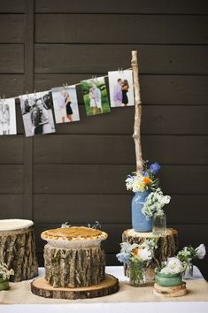 i love the photo clothes line idea on the card or guest book sign table.