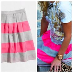"""1 HR ONLY SALE J. Crew wide stripe mini skirt Poly. Sits at waist. 17 1/4"""" long. Side zip. Lined. Dry clean. From Factory J. Crew Skirts"""