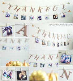 ADORE this Thankful garland & Instagram Display of her family! by @anightowlblog