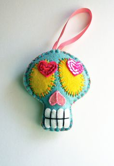 Large Sugar Skull Ornament - Day of the Dead - Dia de los Muertos- Mexican Folk Art.