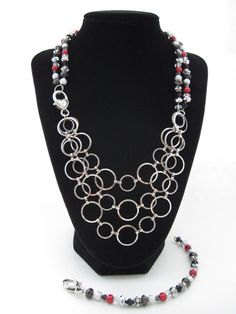 Wizard of Oz Collection: Tin Man - Multi-strand silver, black and red Necklace and Bracelet Set with Heart Clasp