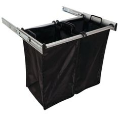 Hafele 807.52.933 Matt Aluminum Synergy 24 Inch Wide Double Pull Out Hamper with Full Extension Drawer Slides and Two Black Nylon Bags Double Hamper, Double Laundry Hamper, Laundry Basket, Laundry Bin, Laundry Rooms, Wardrobe Storage, Closet Storage, Basement Storage, Lever Action
