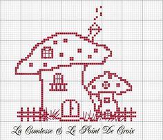 @ La Comtesse & Le Point De Croix: Mushroom Cottages - free cross-stitch pattern...