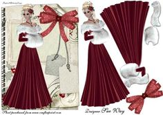 Christmas Lady in Red Decoupage Card Front