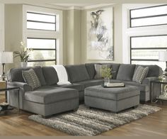 LORIC SMOKE SECTIONAL CHAISE BY ASHLEY