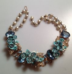 Spectacular 1950s Vintage FLOWER RHINESTONE PEARL Choker Necklace 3 Dimensional