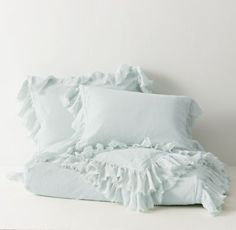 RH TEEN's Tattered Ruffle Duvet Cover:Our cotton-linen bedding features a ruffle of frayed gauze for a vintage aesthetic with tonal seed stitching for added texture.