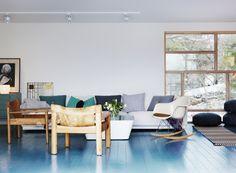 Love the blue painted floor. Like walking on water.