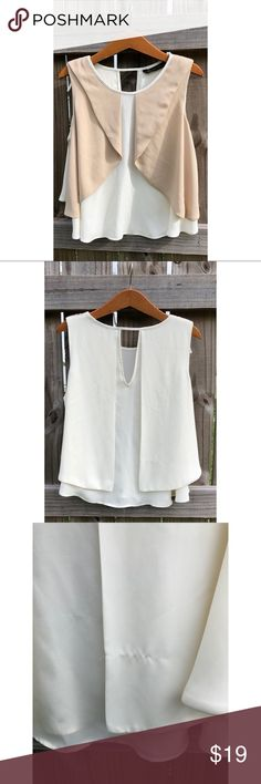 Sleeveless Top | Zara Beautiful cream and tan Zara top. Size small. Single pull on the back that is pictured. Top is perfect under a blazer or cardigan so the pull is covered anyway :) Zara Tops