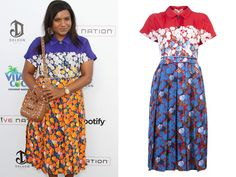 Here I was thinking we'd have to guess what Mindy Kaling wore on the 4th based on her Instagrams of some Fendi sunglasses and perhaps an unworn Memorial Day playsuit but instead we have a photo of Mindy attending a 4th of July bash./// Marc Jacobs Resort 2013 Floral Print Shirt Dress