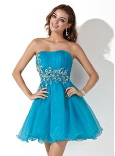 A-Line/Princess Strapless Short/Mini Organza  Satin Cocktail Dresses With Ruffle  Beading (016006688)