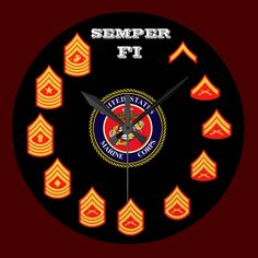 U.S.M.C./ SEMPER FI / MARINE CORPS ENLISTED RANKS / LARGE WALL CLOCK / CLICK ONTO PHOTO TO GAIN ACCESS TO PURCHASE.