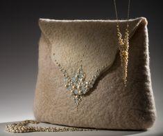 Anat Gelbard- handmade felt bag and pearl necklaces