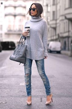 gray high neck sweater, How to layer in winter http://www.justtrendygirls.com/how-to-layer-in-winter/