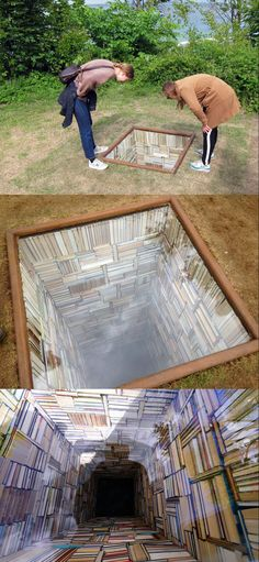 """Susanna Hesselberg, Sculpture by the Sea, """"When My Father Died It Was Like a Whole Library Had Burned Down"""" Infinity mirror? Land Art, Vitrine Design, Instalation Art, Sea Sculpture, Infinity Mirror, 3d Street Art, Colossal Art, Wow Art, Public Art"""